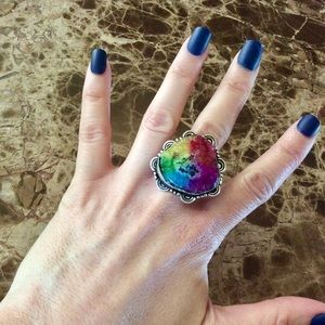 RAINBOW SOLAR AGATE STERLING SILVER RING